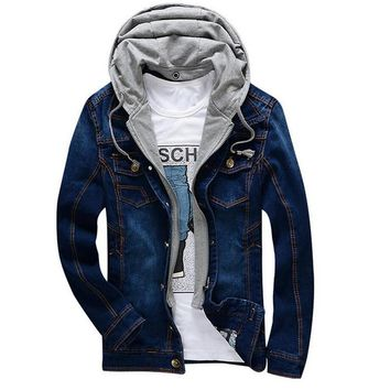 Spring Autumn Fashion Denim Jacket Men Hooded Coat Detachable Casual Jeans Jackets Cowboy Vintage Bomber Jackets Outwear Clothes