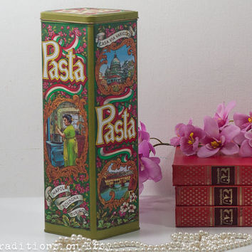 Metal Pasta Box, Large Tin Box, Vintage Retro Style Kitchen Storage Container, Cottage Chic, Italian Pasta Box