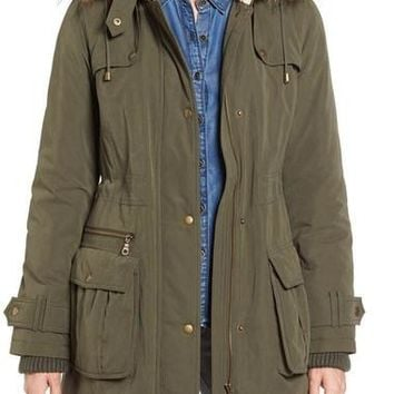 Hooded Anorak with Faux Fur Trim
