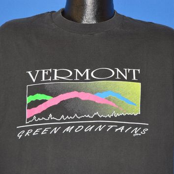 80s Vermont Green Mountain Neon Sunset t-shirt Large