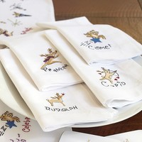 Reindeer Napkins, Set of 9 | Pottery Barn