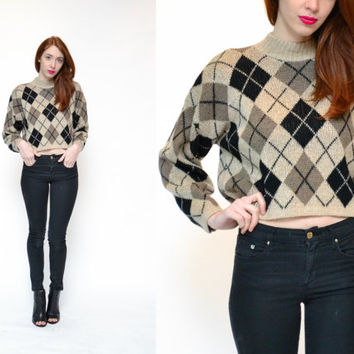 90s ARGYLE knit crop top sweater // brown cream preppy DITSY clueless diamond patterned mock turtleneck grunge revival oversize sweater top
