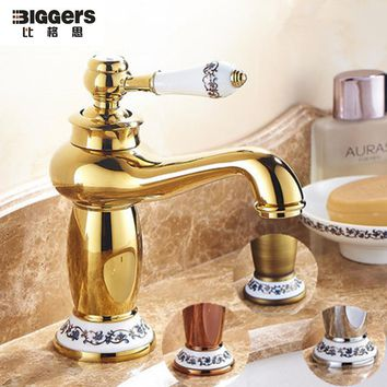 Free shipping,Luxury European design copper single handle bathroom basin faucet gold plated basin mixers taps