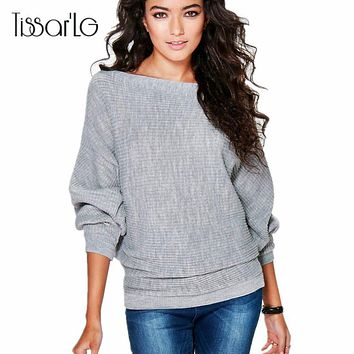 TissarLG women Autumn winter fashion sweaters solid long-sleeve knitted pullovers Batwing sleeve casual cloth