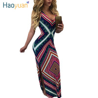HAOYUAN Sexy Maxi Dress Long 2017 Summer Sleeveless Backless Split Spaghetti Strap African Print Bohemian Beach Bandage Dress