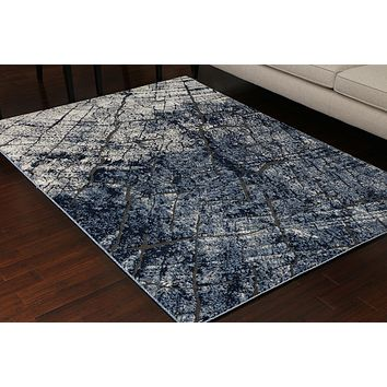 5701 Blue Carved 3D Design Contemporary Area Rugs