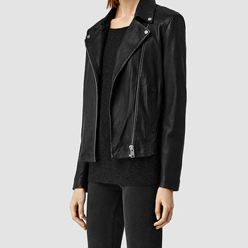 Womens Colwick Leather Biker Jacket (Black) | ALLSAINTS.com