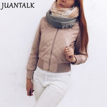 JUANTALK Fashion Winter Women Short O-neck Thick Zipper Warm Faux Leather Jacket Motorcycle Thicken PU Jackets Coat