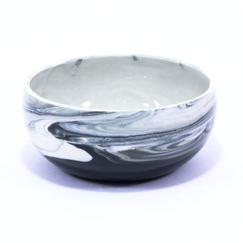 Modern Black Marbled Serving Bowl