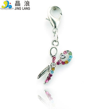 Free Shipping Fashion Charms Multi-Function Alloy Color Rhinestone Scissors Charms DIY Pendant Jewelry
