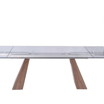 """Vittorio Extendable Dining Table Walnut 1/2"""" tempered clear glass top"""