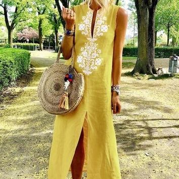 Yellow Sleeveless Boho Slit Maxi Summer Dress