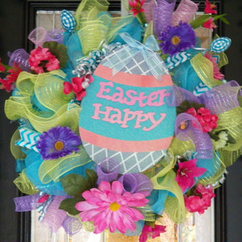 """26"""" Easter Wreath, Easter Decoration, Deco Mesh Wreath, Front Door Wreath, Ready to Ship"""
