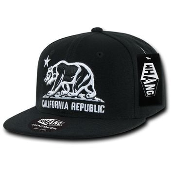 California Republic Cali State Bear Flag Snapback Hat by Whang Black