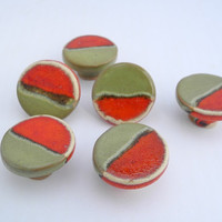 Door Pulls in Olive Green and Red, Drawer Knobs Small Round Pull Handles Handmade Ceramics