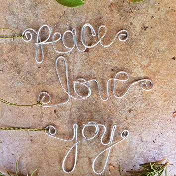 Wire Ornament, Wire Words, Christmas Ornament, Wire Word Create, Christmas Ornament, Hand Shaped Wire, Ornament, Ornament Set, Holiday Gifts