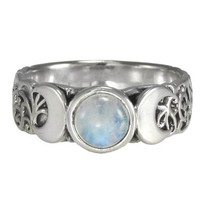 Triple Crescent Moon Goddess Rainbow Moonstone Ring Sterling Silver Wicca Pagan Jewelry (sz 4-15)