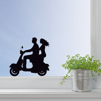 Bike Fabric Decal - Couple Sticker - Romantic Room Decor - Vespa Scooter Laptop Stickers - Biker Wall Decor -  Motorcycle Wall Art