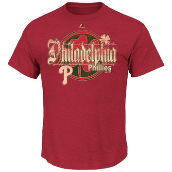 Majestic Philadelphia Phillies St. Patrick's Day Shamrock Slam T-Shirt - Red