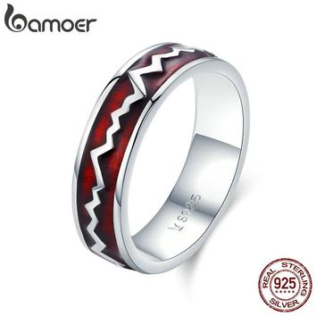 BAMOER Genuine 100% 925 Sterling Silver Glowing Heartbeats Red Enamel Round Finger Ring for Women Engagement Jewelry SCR367