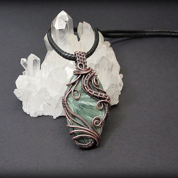 OOAK Seraphinite necklace, wire wrapped Seraphinite pendant, angel stone necklace, black leather necklace, unique necklace for women