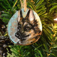 German Shepherd Dog Pet Ornament Holiday Christmas birch wood