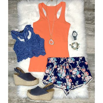 Basic Racerback Scoop Tank: Coral