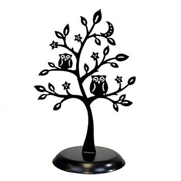 Cut Out Metal Owl Tree Jewelry Stand Earrings Holder Black Silhouette