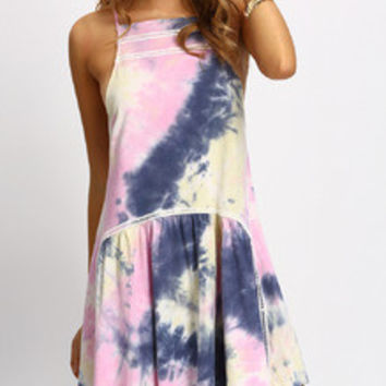 Multicolor Halter Neck Ruffle Dress