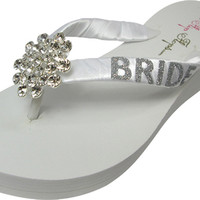 Bridal Jewel Flip Flops with Bride Glitter Bling - Wedding Wedge Flip Flops-white /ivory