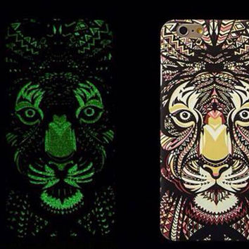 So Cool Night King Lion Animal Handmade Carving Luminous Light Up iPhone Cases for 5S 6 6S Plus Free Shipping
