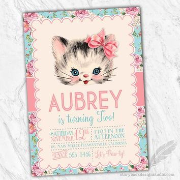 Vintage Kitten Birthday Party Invitations