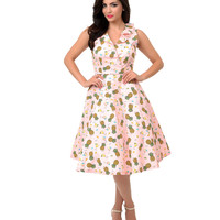 1950s Style Pink Pineapple Cocktail Tiki Swing Dress