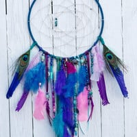 Large Bohemian inspired Hues of Blues Dream catcher