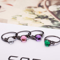 Opal and CZ Diamond in Black Gold Rings in 4 color choices