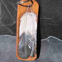 Handmade feather keychain, leather key fobs, feather key fobs, feather key rings, tooled feathers, hand tooled fobs