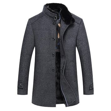 New Winter Thick Fleece Wool Coat Men Slim Fit Jacket Mens Fashion Outerwear Warm Male Casual Jackets Overcoat Woolen Pea Coat