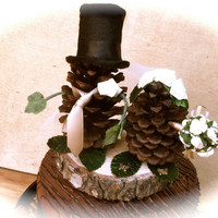 rustic wedding cake topper pine cone forest fall country winter decorations