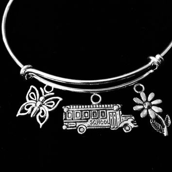 School Bus Driver Jewelry Adjustable Charm Bracelet Silver Expandable Bangle One Size Fits All Appreciation Gift