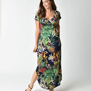 Retro Style Navy & Green Tropical Floral Short Sleeve Stretch Maxi Dress
