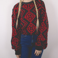 Vintage Red Gray Marled Tribal Print Sweater