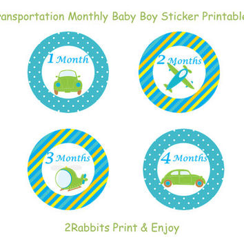 Transportation Themed  Boy Baby Shower- DIY Printable Monthly Baby Stickers- Baby Shower Gift - Instant Digital Printable -Cars and Airplane