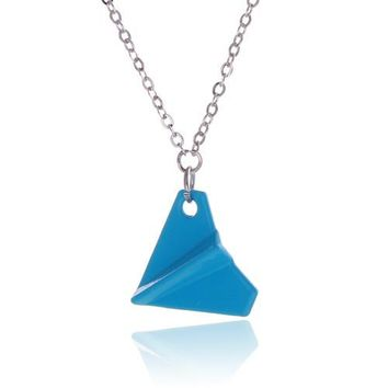 Paper Airplane Pendant Necklace Colors Plated