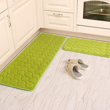 50X80+60X160CM/Set Coral Velvet Kitchen Mat Anti-Slip Bathroom Carpet Absorb Water Kitchen Rug Home Entrance Doormat/ Foam Mat