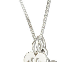 Sterling Silver Heart with Paw Print Cutout and Dog Bone Necklace