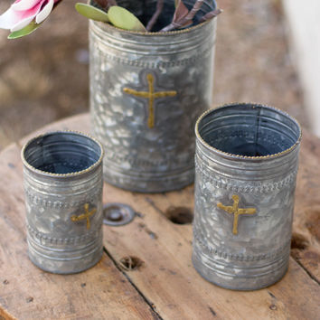 Set of 3 Metal Planters with Cross Design & Brass Dot Detail