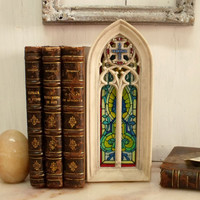 Cathedral stained glass window stone type bookend shabby french bookend holder religious style
