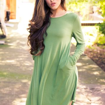 Winter Comfort Dress - Green
