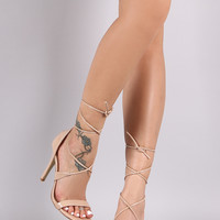Patent Open Toe Lace-Up Stiletto Heel | UrbanOG