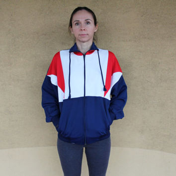 Vintage Sport Jacket, 80s Unisex Hipster Jacket, Womens or Men Blue Red White Wind Breaker, Retro Sportswear, Size S